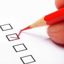 poll or polling concept with checkbox and red pencil showing marketing